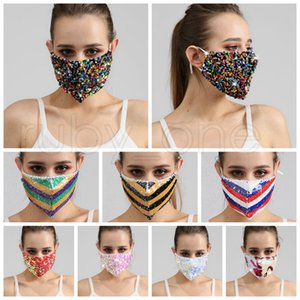Bling Bling Sequins Face Mask Dustproof Fashion Mouth Masks Designer Washable Reusable Women Face Mask High Quality Masks 8styles RRA3671