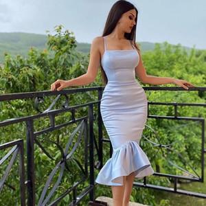 Aso Ebi stile del vestito da cocktail del partito africano argento satinato Prom 2021 Mermaid Vintage tè lunghezza abiti arabi abiti di sera convenzionali