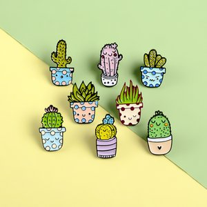 Moda Karikatür Kadınlar Için Güzel Botanik Broş Erkekler Kaktüs Saksı Özgünlüğü Rozeti Pin Broşlar Bırak Yağ Takı 1 8HY L2B