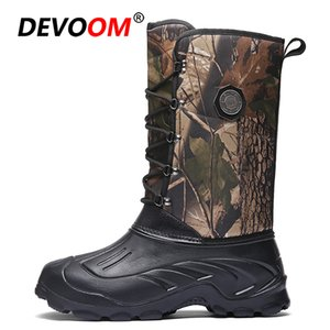Camouflage Waterproof Snow Boots Men Winter Boots Cowboy Boots With Fur Plush Warm Male Casual Mid-Calf Work Fishing Boot 201110