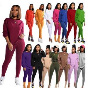 Дизайнер Женщины костюмы из двух частей Брюки Set Solid Color Длинные рукава дамы Новая мода Повседневная осень зима Спортивные костюмы Плюс Размер DHL