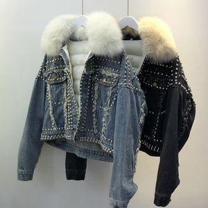 Hot Sale Down Jacket Women Winter 90% White Duck Down Coat Detachable Feather Liner Natural Fox Fur Collar Female Parkas Rivet Denim Coat