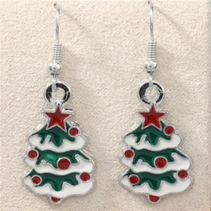 Green Enamel Christmas tree Earrings Silver Fish Ear Hook 10pairs lot Antique Silver Chandelier Jewelry 42x15mm . z766