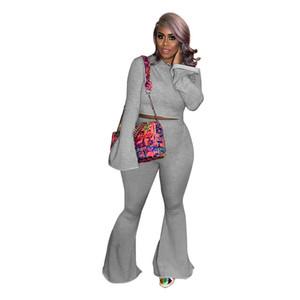 Soild Color Womens Two Piece Set Fashion Flare Sleeve Pants Designer con cappuccio 2pcs Sets New Womens Abbigliamento