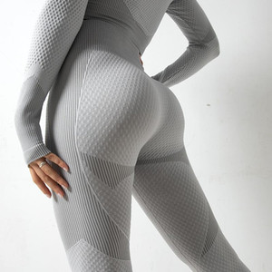 Yoga Outfits Женская осень бесшовные трикотажные ягодицы влага умирают фитнес брюки спортивные спорты спорты высокой талии бедра леггинсы