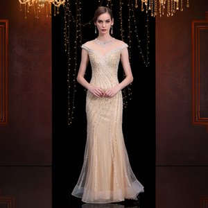 Heavy Evening Dress Woman 2019 Luxurious Sexy Banquet Grace Cocktail Party Party Skinny Self-cultivation Long Fund Full Dress