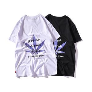 Maple leaf pattern short-sleeved T-shirt men's INS super hot couple base shirt white T-shirt