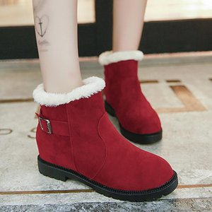 Weweya Height Increasing Winter Boots Woman Platfrom Sneakers Shoes Woman Buckle Knot Red Winter Snow Boots Ladies Botas Mujer
