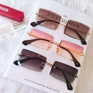 Fashion Rimless Sunglasses Women 2021 Trendy Small Rectangle Sun Glasses Summer Traveling Style UV400 Gold Brown Shades for men