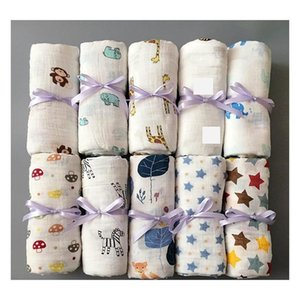 muslin baby blanket cotton newborn swaddles bath gauze infant wrap kids sleepsack stroller cover play mat 78 designs 50pcs ywy1387