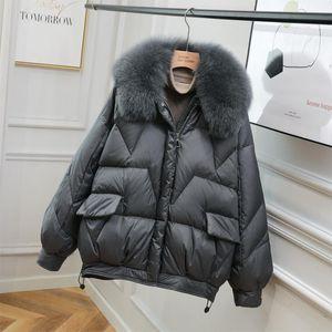 Janveny 90% Pato Branco Down Jacket Mulheres Winter Fur Collar Brasão Feather Down Feminino quente grossa curtas soltas Jaquetas Puffer