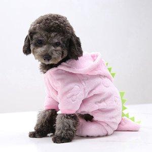 두꺼운 애완 동물 개 옷 재미 있은 핑크 공룡 모양의 겨울 따뜻한 개 애완 동물 의류 타이거 패턴 애완 동물 후드 스웨터 장식