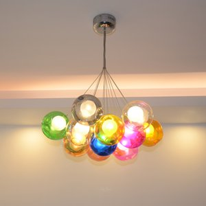 Nordic Bubbles Chandelier 90-260V Post Modern Led Deco Colorful Glass Pandent Light for Living Dining Study Room Loft Villa