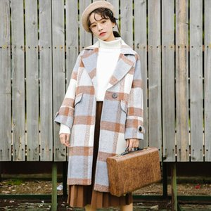 New Autumn Women Cashmere Trench Jacket Casual Plaid Turn down Collar Long Coat Thickness Warm Button Pocket Jackets