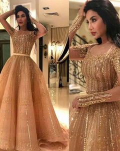 Sparkly Arabic Aso Ebi Gold Evening Dresses Beaded Sequins Prom Dress Long Sleeves Fomal Party Second Reception Gowns