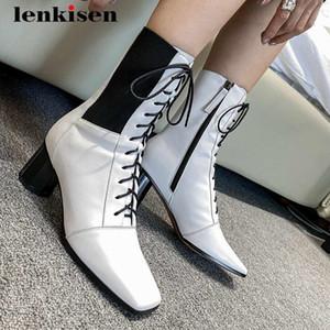 Lenkisen 2020 chaussures d'hiver en cuir véritable maturité en dentelle extensible épais bout carré haut talon haut dame élégante datant bottes mi-mollet L16