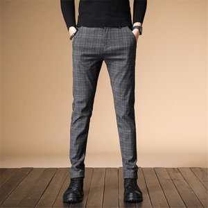 New youth check casual pants men's pants in autumn and winter 2020 slim fit stretch Korean urban British suit