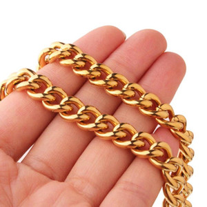 Curb Cuban Link Chain Necklace for Men Gold Plated 316L Stainless Steel Chain Jewelry Halloween Gift