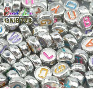 4x7mm Carta de mezcla con cuentas acrílicas Alfabeto redondo Plano Digital Spacer Spacer Beads para joyería Fabricación de bricolaje Collar de pulsera W Jluuv