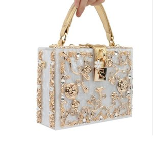 Women Box Acrylic Handbag Brand Designer Metal Flower Small Shoulder Bag Female Evening Wedding Party Clutch Purse Two Straps 201204