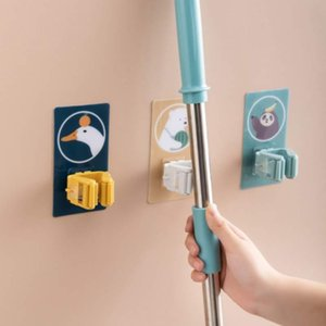 Hot Storage Hanger Rack Wall Mounted Practical Kitchen Mop Organizer Multi-Purpose Hooks Broom Holder Self Adhesive