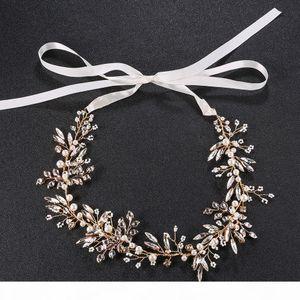 Handmade Pearl Crystal Bridal Hair Vine Jewelry Gold Bridal Boho Headpiece Headband Accessories JCG023