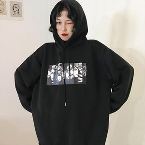 Hoodie clothes female autumn and winter wear Korean version of the loose plus velvet thickening Harajuku ins New wave anime ins