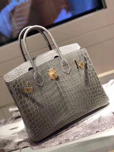 Solo per ordine, all'ingrosso grigio chiaro Shinny Crocodile Handbag30cm, filettatura di cera interamente fatta a mano, può fare altre dimensioni, molti colori per scelti