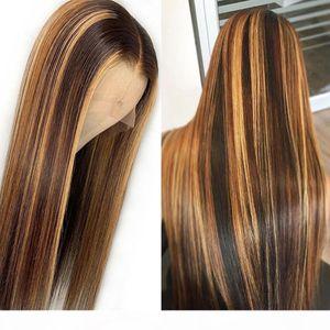 Straight Might Sighter Blonde Couleur Dentelle Frontière Human Hair Perruques Précédent avec Baby Cheveux Brésilien Remy Cheveux 13x6 Perruque