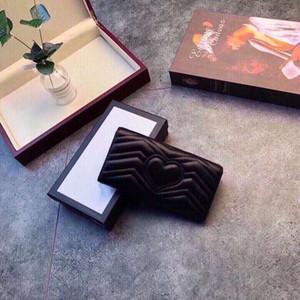 Luxus 3A High-End-klassische herzförmige gemusterte Brieftasche mit Kasten Damen Echtes Leder rechteckige Flip-Brieftasche Kupplungs-Tasche Großhandel