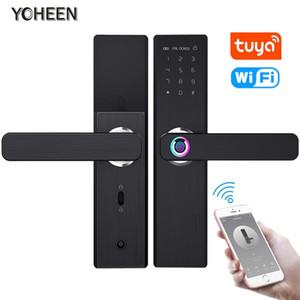 Bloqueo YOHEEN Wifi elegante electrónico de la puerta con Tuya Aplicación, Seguridad biométrica de la huella de bloqueo inteligente con la tarjeta RFID contraseña