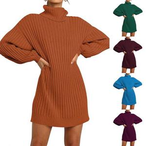 Feminino outono inverno vestido camisola de malha vestido magro alto pescoço inchado de manga comprida sexy festa senhoras vestidos 2021 moda