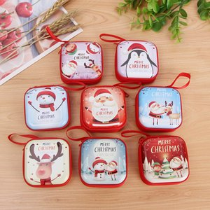8 styles Design Round Christmas Change Purse Tinplate Mini Key Holder Coin Purse Wallet Bag Headphone Christmas Gift Decoration Xams