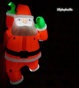 Гигантские Освещенные Рождество Надувной Санта 6м Красный Воздушный Сгорел Санта воздушный шар для переноски Подарочная сумка Скалолазание для наружной отделки