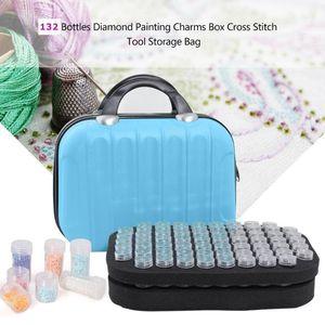 132 Bottles Diamond Painting Storage Box Bead Container Embroidery Handbag Rhinestone Case Organizer Diamond Embroidery Tool C0116