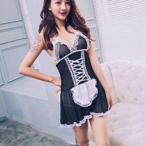 Uniforme mulheres Erótico Temptation Suit Malha Sexy Maid Exotic Vestuário Cosplay Lace Set Lingerie Plus Size