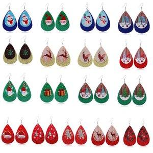 Freies DHL / UPS Weihnachten Serie Mode Leder Ohrringe kreative Doppelschicht Leder Ohrringe Weihnachts Bilder Leder Ohrringe