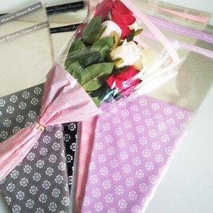Подарочная обертка 50 шт. Одиночная роза пластиковая упаковка прозрачный цветочный букет упаковка бумаги OPP мешок цветочные упаковочные пакеты Party Decor1