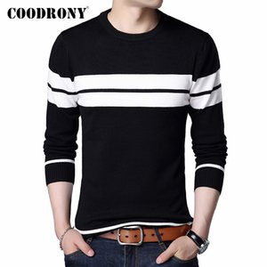 COODRONY Brand Sweater Men Casual Striped O-Neck Pull Homme Autumn Winter Cotton Pullover Men Jersey Hombre Knitwear Shirt C1006