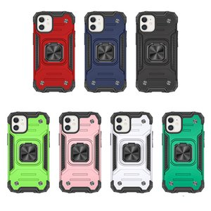 Shockproof Hybrid Layer Case For Iphone 12 Mini 11 Pro MAX XR XS 8 7 SE 2020 Car Holder Magnet Suction PC+TPU Finger Ring Impact Combo Cover