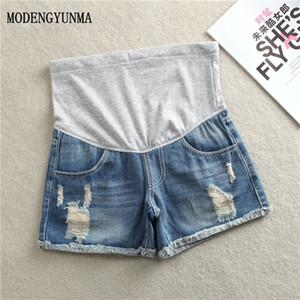 MODENGYUNMA Kot Annelik Şort Hamile Kadın Giyim Gebelik Pamuk Giyim Kısa Göbek Skinny Jeans Pantolon Gravida C1002 için