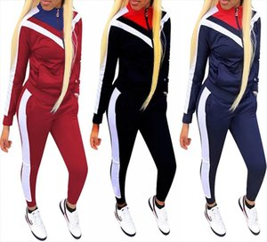 2019 Europe and the United States autumn new womens fashion casual suit color block stitching sports wind two piece