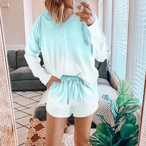 Renkli pijamalar Kadınlar Yeni Ev Giyim İki Adet Kadın Pijama Takımı Moda Gecelik Uyku Bottoms geceliğini Tie-boya yazdır