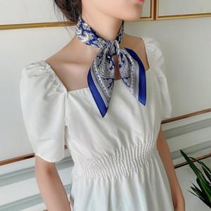 Korean-style Elegant Versatile Silk Scarf Women's 100% Mulberry Silk Neckerchief Printed Airline Stewardess Scarf Hair Band Tied