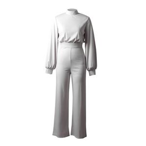 2021 Amazon Avrupa ve Amerikan Çapraz Sınırlı Seksi Geniş Bozuk Pantolon Katı Renkli Yüksek Boyun Açık Uzun Kollu Rahat Pantolonlar