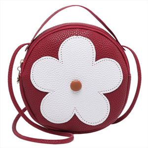 Women Artificial Leather Shoulder Bag Flower Shell Bag Girls Outdoor Travel Messenger Ladies Hand Bags Round Side A40