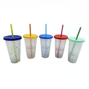 24oz البلاستيك الباردة الشرب البهلوانات PP حساسة للحرارة قابلة لإعادة الاستخدام تغيير لون كأس الباردة غطاء سترو البلاستيك الأقداح DDA611
