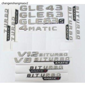 Chrome Trunk Letters Badge Emblem Emblems Sticker for Mercedes Benz GLE43 GLE63 GLE63s V8 V12 BITURBO 4MATIC AMG