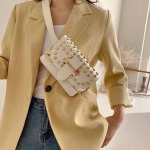 Female Rivet Waist Bag Fashion Women Chest Bag Single Chain Shoulder Crossbody Double Shoulder Strap