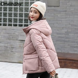 Orwindny Solid Women's Jacket Short Autumn Winter Jacket Coat Female Hooded Padded Clothing Big Pockets Sweet Parkas Outerwear 201023
